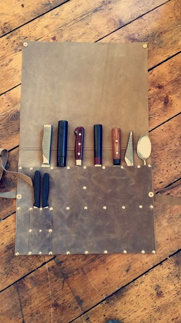 handmade leather knife roll